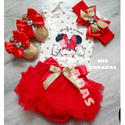 Conjunto minnie rojo/oro