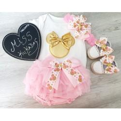 Conjunto minnie rosa/oro
