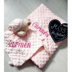 Pack Doudou y manta rosa bordado