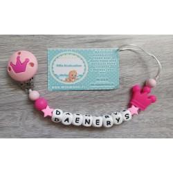Chupetero silicona corona rosa/fucsia